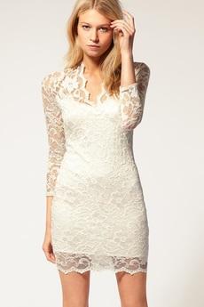 Гипюровое платье с V-образным вырезом Kokette со скидкой