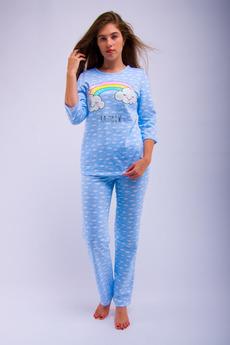 Голубая пижама с начесом Malina